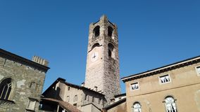 Bergamo, Italy. The old town. Landscape at the clock tower called Il Campanone. It is located in the main square of the upper town. Morning time stock video