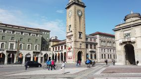 Bergamo, Italy. One of the beautiful city in Italy. View of the city center along the cross with the pedestrian way stock video footage