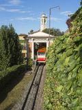 Bergamo, Italy. The red funicular in the old city of Bergamo at the upper station at San Vigilio hill Royalty Free Stock Images