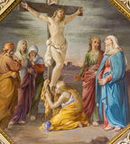 BERGAMO, ITALY - SEPTEMBER 8, 2014: The Crucifixion fresco in church Santa Maria Immacolata delle Grazie Royalty Free Stock Image