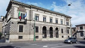 Bergamo, Italy. View of the facade of the Bank of Italy in the city center. It is an historical landmark stock video