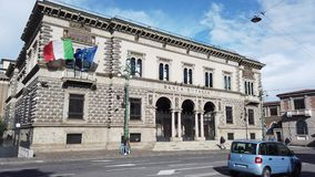 Bergamo, Italy. View of the facade of the Bank of Italy in the city center. It is an historical landmark stock video footage