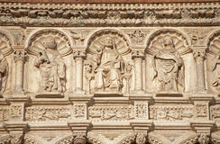 Bergamo - Jesus and the apostle. Detail from east portal of basilica Santa Maria Maggiore Royalty Free Stock Image