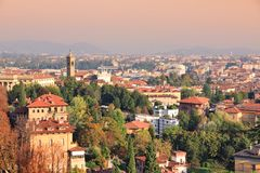 Bergamo, Lombardy. Bergamo city aerial view. Old town in Lombardy, Italy Stock Photo