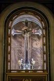 BERGAMO, LOMBARDY/ITALY - 25 GIUGNO: Statua di Cristo sulle Ass.Comm. Fotografie Stock