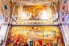 Bergamo, Lombardy, Italy - Jan 25 2019: Interior of Basilica di Santa Maria Maggiore Saint Mary Major. The Cathedral is Romanesque. Architecture with a gilded stock photos