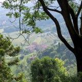 BERGAMO, LOMBARDY/ITALY - 25 JUNI: Mening van Citta Alta in Berg Stock Foto