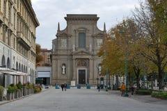 Bergamo - St. Bartolomeo church. Bergamo, Lombardy, Italy - St. Bartolomeo church along The Sentierone Royalty Free Stock Photography