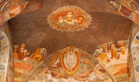 Bergamo - Main apse from church Michele al pozzo bianco. Fresco by Giovani Battista Guarinoni d'Averara from year 1577. Royalty Free Stock Photos