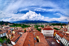 Bergamo Milano Italy from above. HDR artistic aerial image of th. E old city Royalty Free Stock Images