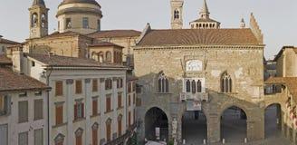 Bergamo - Old city Città Alta. Landscape on the the ancient Administration Headquarter called Palazzo della Ragione Royalty Free Stock Photo