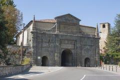 Bergamo - Old city Città Alta. Landscape on the old gate named Porta Sant Agostin Royalty Free Stock Photography