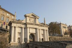 Bergamo - Old city Citta Alta. One of the beautiful city in Italy. Lombardia. Landscape on the old gate named Porta San Giacomo Stock Photography