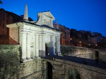 Bergamo - Old city Citta Alta. One of the beautiful city in Italy. Lombardia. Landscape on the old gate Porta San Giacomo. Bergamo - Old city Citta Alta. One of Royalty Free Stock Photo