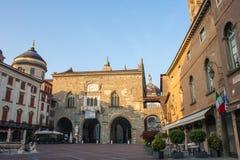 Bergamo - Old city. Landscape on the the ancient Administration Headquarter called Palazzo della Ragione Stock Photos