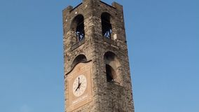 Bergamo - Old city. Landscape on the clock tower called Il Campanone stock footage