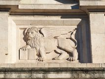 Bergamo - Old city. The Lion of Saint Marco symbol of the presence of Venice on the different buildings and monuments.  royalty free stock image