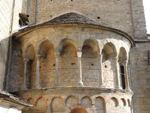 Bergamo - Old city. Architectural details of the Cathedral called Santa Maria Maggiore Royalty Free Stock Images