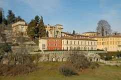 Bergamo. Old town. The sight of the old town of Bergamo with trees and building and sky royalty free stock images