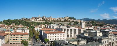 Bergamo. One of the beautiful city in Italy. Lombardia. Landscape on the old city during a wonderful blu day Stock Image