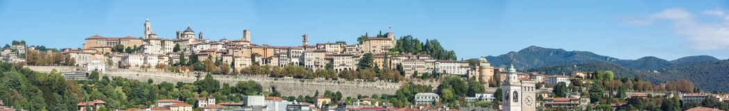 Bergamo. One of the beautiful city in Italy. Lombardia. Landscape on the old city during a wonderful blu day Royalty Free Stock Photography
