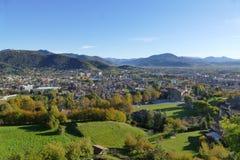 Bergamo - panorama van Remember Park stock foto