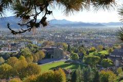 Bergamo - panorama van Remember Park stock afbeeldingen
