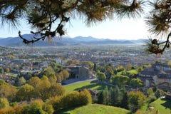 Bergamo - panorama van Remember Park royalty-vrije stock foto's