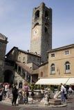 Bergamo, piazza Vecchia Immagine Stock Libera da Diritti