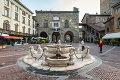 Bergamo Piazza Vecchia Stock Photography
