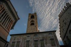 Bergamo portico of the palazzo della ragione l. Bergamo portico of the palazzo della ragione with a view of the Colleoni Chapel royalty free stock images