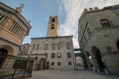 Bergamo portico of the palazzo della ragione l. Bergamo portico of the palazzo della ragione with a view of the Colleoni Chapel royalty free stock photography