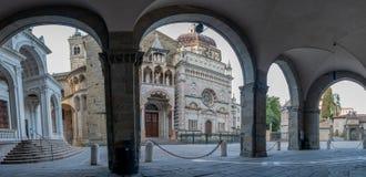 Bergamo portico of the palazzo della ragione l. Bergamo portico of the palazzo della ragione with a view of the Colleoni Chapel royalty free stock image