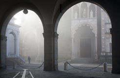 Bergamo - rays between Duomo and cathedral Royalty Free Stock Photo
