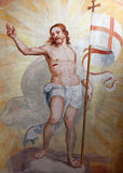 Bergamo - Resurrected Jesus fresco from church Michele al pozzo bianco. Stock Photography
