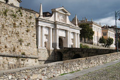 Bergamo s. agostino door. S. agostino door in bergamo town Royalty Free Stock Images