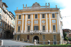 Bergamo s. agostino door. Neoclassical building in bergamo town along the old walls Royalty Free Stock Images