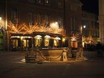 Bergamo - vecchia città Abbellisca sulla fontana di Contarini e sul vecchio quadrato principale Fotografie Stock Libere da Diritti