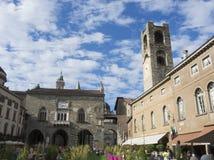 Bergamo - vecchia città Uno di bella città in Italia Lombardia Abbellisca sul vecchio quadrato principale chiamato Piazza Vecchia Fotografia Stock Libera da Diritti