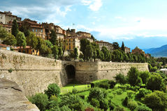 Bergamo venetian walls. Bergamo town along the old walls Royalty Free Stock Image
