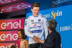 Bergamo, Włochy Maj 21, 2017; Bob Jungels na podium po wygrywać scenę Fotografia Royalty Free
