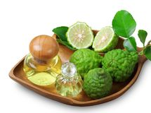 bergamot with aromatic spa of bottles essential oil isolated clipping path stock photos