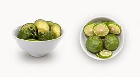 Bergamot in a bowl. Isolated on a white background stock images