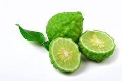 Bergamot fruit with leaf. Fresh of bergamot fruit with leaf on white background stock photography