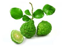 Bergamot fruit with leaf. Fresh of bergamot fruit with leaf on white background stock photos
