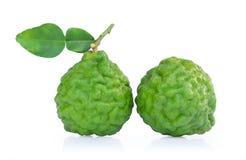 Bergamot fruit with leaf isolated on white background.  royalty free stock photo