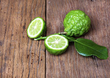 Bergamot. Fruit with leaf on white background royalty free stock images