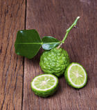 Bergamot. Fruit with leaf on white background Stock Photo