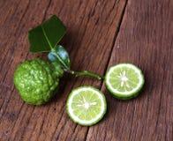 Bergamot. Fruit with leaf on white background stock image