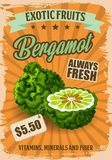 Bergamot fruit with price tag grocery store poster. Bergamot fruit with price tag poster for grocery store. Natural exotic product full of vitamins, minerals and royalty free illustration